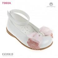 Λευκά Δερμάτινα Παπουτσάκια Περπατήματος για Κορίτσια με Φιόγκο και Δαντέλα Everkid 7060A