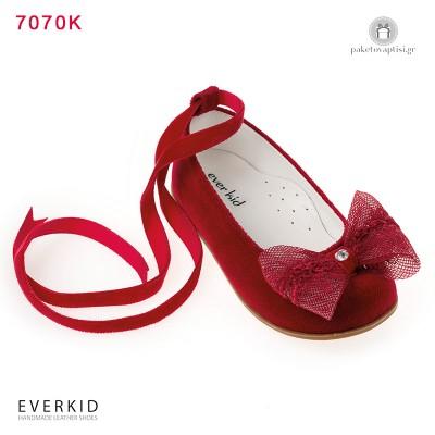 Κόκκινα Βελούδινα Γοβάκια Περπατήματος με Φιόγκο Everkid 7070K
