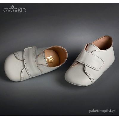 Δερμάτινα Λευκά Παπουτσάκια Αγκαλιάς Everkid 9100Α