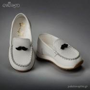 Λευκά Δερμάτινα Loafers με Μουστάκι Everkid 9148A