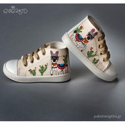 Εκρού Μποτάκι Sneakers με Ζωγραφιά Everkid 9151E