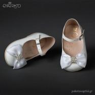 Λευκά Γοβάκια με Φιόγκο και Πέρλες Everkid 9042Α