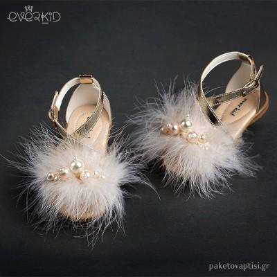Χρυσά Πέδιλα με Μαραμπού και Πέρλες Everkid 9064Χ