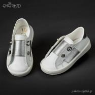 Δερμάτινα Sneakers Λευκό Ασημί Everkid 9068Α