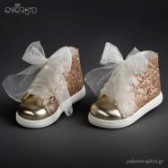 Χρυσά Sneakers με Παγιέτες Everkid 9071Χ
