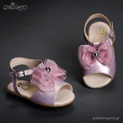 Δερμάτινα Ροζ Πέδιλα για τα Πρώτα Βήματα Everkid 9025Ρ