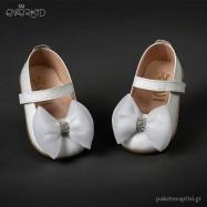 Δερμάτινα Λευκά Γοβάκια με Φιογκάκι για τα Πρώτα Βήματα Everkid 9028Α