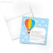 Προσκλητήριο Βάπτισης Πολύχρωμο Αερόστατο
