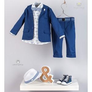 Βαπτιστικό Κοστούμι Μπλε Ρουά για Αγόρια Angel Wings 367