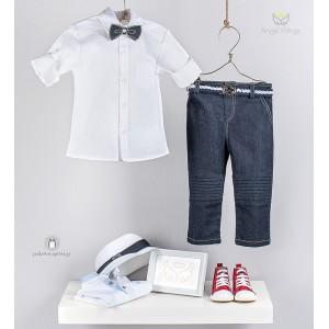 Βαπτιστικό Σύνολο Λευκό με Jean για Αγόρια Angel Wings 438