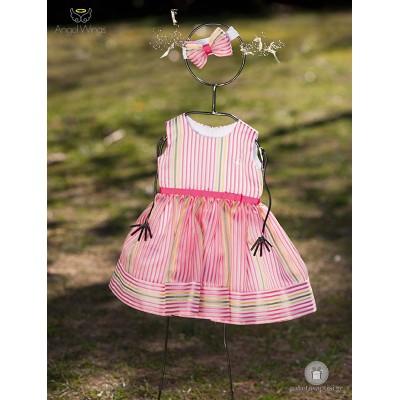 Βαπτιστικό Φόρεμα Πολύχρωμες Ρίγες  | Angel Wings 028