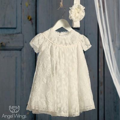 Βαπτιστικό Εκρού Φόρεμα Ρετρό Δαντέλα | Angel Wings 007