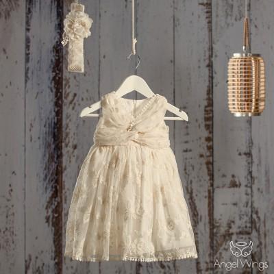 Βαπτιστικό Εκρού Φόρεμα Martini | Angel Wings 056