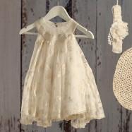Βαπτιστικό Εκρού Φόρεμα Fifi | Angel Wings 067