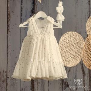 Βαπτιστικό Εκρού Φόρεμα Merilyn | Angel Wings 069