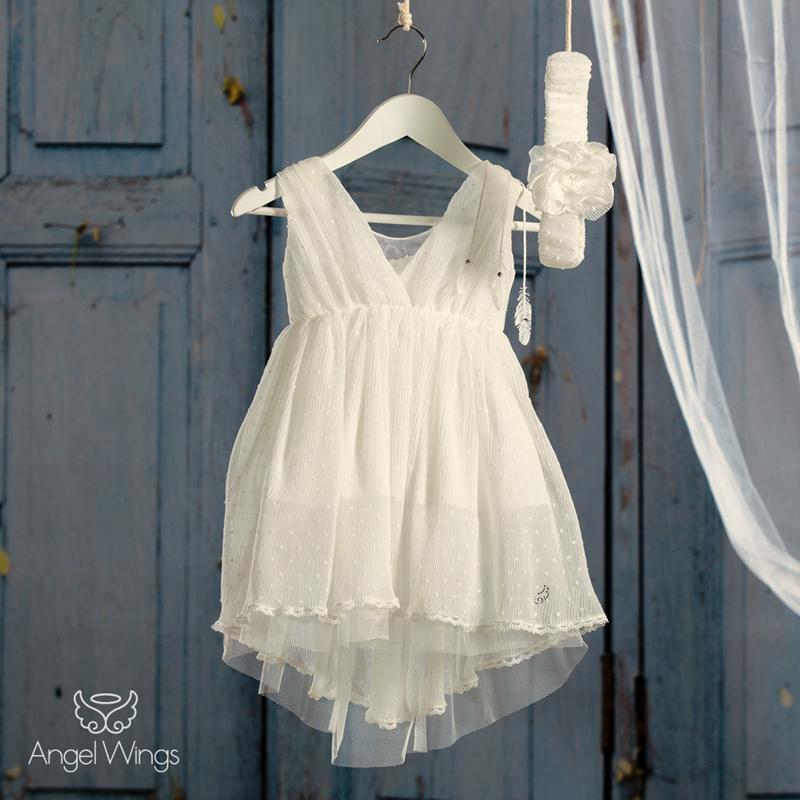 3a04f736ddd Βαπτιστικό Εκρού Φόρεμα Athina   Angel Wings 072