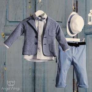Βαπτιστικό Σύνολο για Αγόρια Γκρι με Μπλε | Angel Wings 090