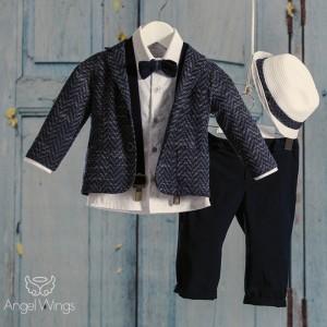 Βαπτιστικό Σύνολο για Αγόρια Blue Navy | Angel Wings 094