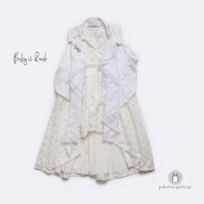 Βαπτιστικό Σύνολο Λευκό Πουά Φόρεμα και Γιλέκο Baby U Rock