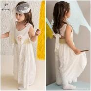 Βαπτιστικό Ρούχο για Κορίτσια Ιβουάρ με Χρυσό Bonito 18203
