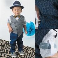 Βαπτιστικό Ρούχο για Αγόρια Καρό Μπλε Bonito 19106