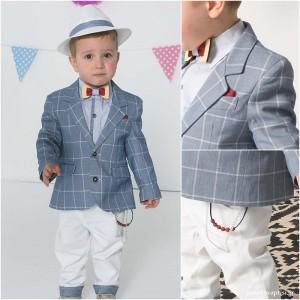 Βαπτιστικό Ρούχο για Αγόρια Καρό Λευκό Bonito 19110