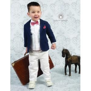 Βαπτιστικό Κοστούμι Μπλε Σακάκι Λευκό Παντελόνι Nikos-Takis