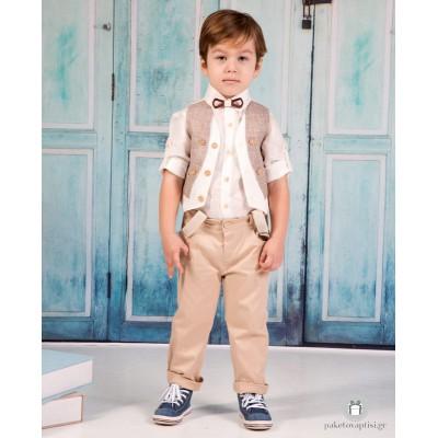 Βαπτιστικό Ρούχο για Αγόρια Μπεζ Mi Chiamo Α4172