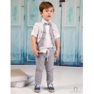 Βαπτιστικό Ρούχο για Αγόρια Γκρι Mi Chiamo Α4174