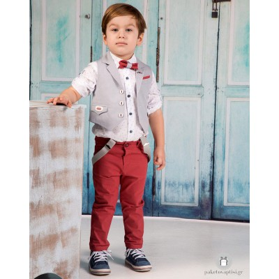 Βαπτιστικό Ρούχο για Αγόρια Μπορντώ Γκρι Mi Chiamo Α4175