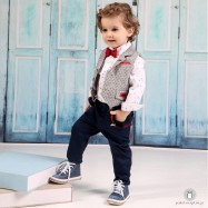 Βαπτιστικό Ρούχο για Αγόρια Μπλε Γκρι Mi Chiamo Α4177