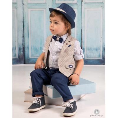 Βαπτιστικό Ρούχο για Αγόρια Μπλε Μπεζ Mi Chiamo Α4177