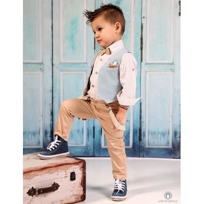 Βαπτιστικό Ρούχο για Αγόρια Σιέλ Μπεζ Mi Chiamo Α4182