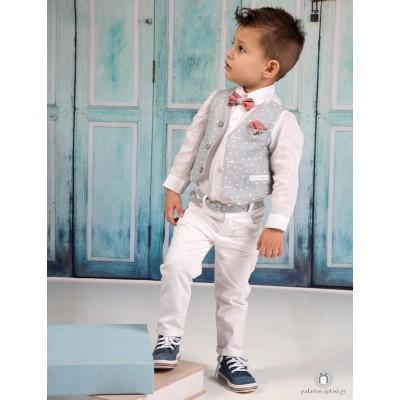 Βαπτιστικό Ρούχο για Αγόρια Λευκό Γκρι Πουά Mi Chiamo Α4183