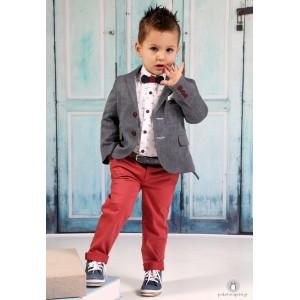 Βαπτιστικό Ρούχο για Αγόρια Κόκκινο Γκρι Mi Chiamo Α4186