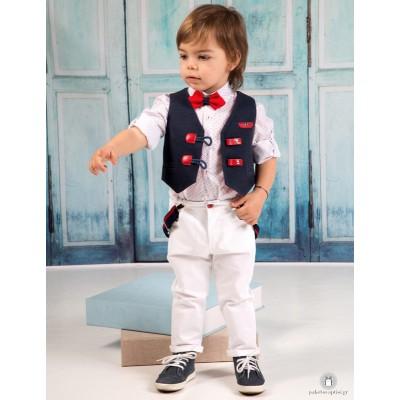 Βαπτιστικό Ρούχο για Αγόρια Λευκό Μπλε Mi Chiamo Α4188