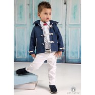 Βαπτιστικό Ρούχο για Αγόρια Λευκό Μπλε Ραφ Mi Chiamo Α4189