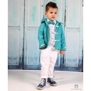 Βαπτιστικό Ρούχο για Αγόρια Λευκό Τιρκουάζ Mi Chiamo Α4189