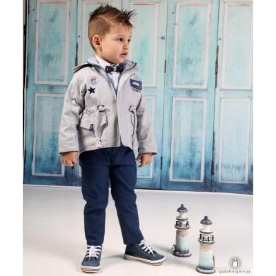 Βαπτιστικό Ρούχο για Αγόρια Γκρι Μπλε Ραφ Mi Chiamo Α4190