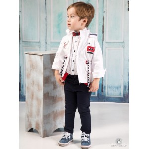 Βαπτιστικό Ρούχο για Αγόρια Λευκό Μπλε Mi Chiamo Α4190