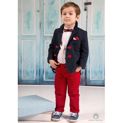 Βαπτιστικό Ρούχο για Αγόρια Κόκκινο Μπλε Mi Chiamo Α4196