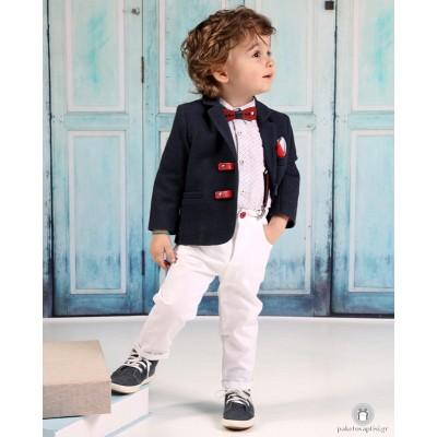 Βαπτιστικό Ρούχο για Αγόρια Λευκό Μπλε Mi Chiamo Α4196