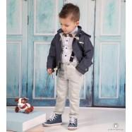 Βαπτιστικό Ρούχο για Αγόρια Γκρι Φυστικί Mi Chiamo Α4197