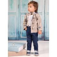 Βαπτιστικό Ρούχο για Αγόρια Μπεζ Μπλε Ραφ Mi Chiamo Α4198