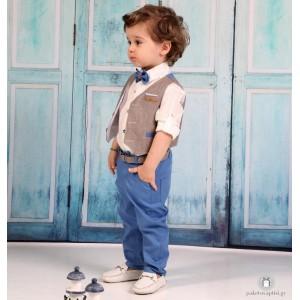 Βαπτιστικό Ρούχο για Αγόρια Μπεζ Μπλε Mi Chiamo Α4201