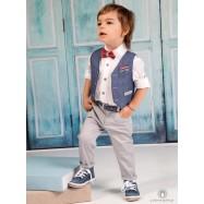 Βαπτιστικό Ρούχο για Αγόρια Γκρι Μπλε Ραφ Mi Chiamo Α4201
