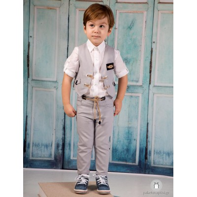 Βαπτιστικό Ρούχο για Αγόρια Γκρι Mi Chiamo Α4202