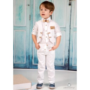 Βαπτιστικό Ρούχο για Αγόρια Λευκό Mi Chiamo Α4202