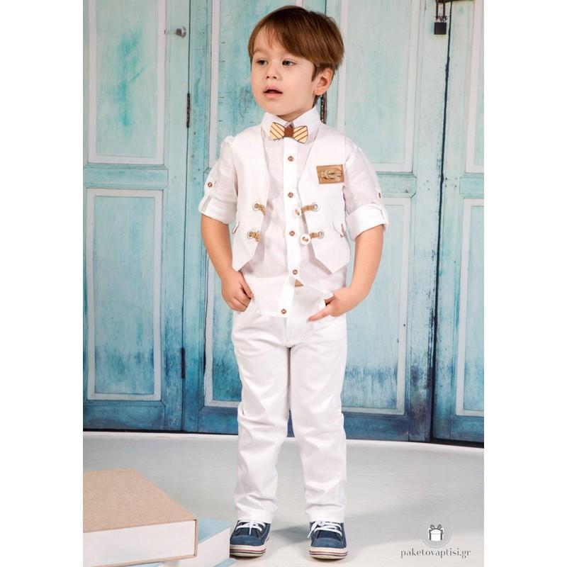 Βαπτιστικό Ρούχο για Αγόρια Λευκό Mi Chiamo Α4202 60e8cce617c