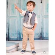 Βαπτιστικό Ρούχο για Αγόρια Μπεζ Γκρι Mi Chiamo Α4204